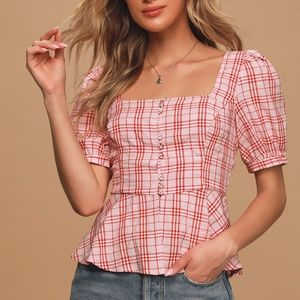 Lulus Cheer Up Red Plaid Puff Sleeve Button-Up Top